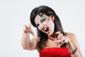 Woman beautiful halloween vampire over night background Stock Photo