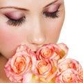 Žena krásny kozmetické prostriedky
