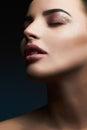 Woman.Beautiful Makeup.Gorgeous Glamour Lady Portrait.Sexy Lips. Beauty christmas Makeup with glitter eye shadows Royalty Free Stock Photo