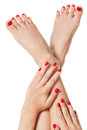 Woman with beautiful red finger and toenails neatly manicured sitting bare feet clasping her ankles to display her nails Royalty Free Stock Image