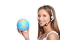 Woman beautiful smiling office operator whit globe map on white background Stock Photos