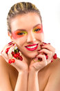Woman beauty with cherries on white background Royalty Free Stock Photos