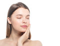 Woman beauty face closed eyes with hand portrait isolated on white with healthy skin Royalty Free Stock Photo