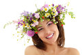 Woman beauty face with summer field wild flowers Stock Images