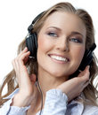 Woman beauty with headphones Stock Image