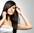 Woman with beauty long straight hair Stock Photos