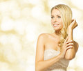 Woman beauty portrait beautiful girl smiling blonde happy over yellow background Stock Photos