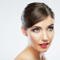 Woman beauty portrait isolated on white close up female face Royalty Free Stock Photo