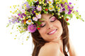 Woman beauty with summer wild flowers Stock Image