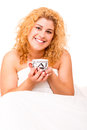 Woman in bed beautiful young having breakfast Royalty Free Stock Images