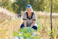 Woman on a bed of cabbage farmer Stock Photography
