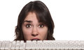 Woman Behind Keyboard Stock Images