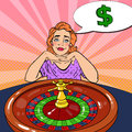 Woman Behind Roulette Table Dreaming About Big Win. Casino Gambling. Pop Art