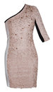 Woman beige event dress Royalty Free Stock Photo