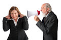 Woman being yelled at by manager businesswoman senior male on white Royalty Free Stock Image