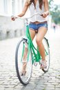 Woman on bicycle close up of young Stock Images