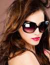 Woman with big black sun glasses pretty Stock Photography