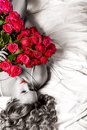 Woman with big bouquet of red roses Stock Image