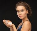Woman with big diamond Royalty Free Stock Photo