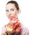 Woman with big pink flower young beautiful fresh make up and gorgeous over white background Royalty Free Stock Image