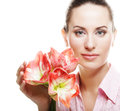 Woman with big pink flower young beautiful fresh make up and gorgeous over white background Royalty Free Stock Photo