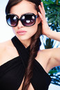 Woman with big sun glasses Royalty Free Stock Photography