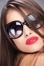 Woman with big sun glasses Royalty Free Stock Images