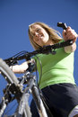 Woman with bike Stock Photos