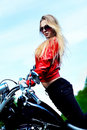 Woman biker Stock Image