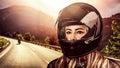 Woman biker Royalty Free Stock Photo