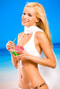 Woman in bikini with cocktail Royalty Free Stock Photos