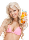 Woman in bikini with cocktail Royalty Free Stock Photo
