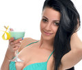 woman in bikini drinking margarita cocktail juice with strawberr Royalty Free Stock Photo