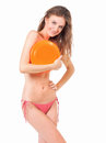 Woman in bikini with flying disc Royalty Free Stock Photo