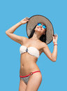 Woman in bikini, sky background Royalty Free Stock Photo