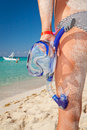Woman in bikini with snorkeling mask Royalty Free Stock Image