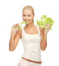 Woman biting lettuce picture of healthy piece of Stock Photos