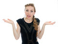 Woman in black dress misunderstanding. Stock Photography