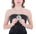 Woman in black holding condom, isolated on white Stock Photography