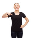 Woman in blank black t-shirt Royalty Free Stock Photography