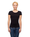 Woman in blank black t shirt design happy people concept smiling Stock Photo