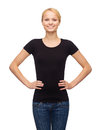 Woman in blank black t shirt design happy people concept smiling Royalty Free Stock Photos