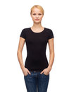 Woman in blank black t shirt design happy people concept smiling Royalty Free Stock Images