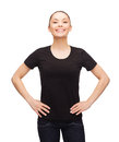 Woman in blank black t shirt design happy people concept smiling Stock Photos