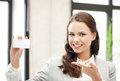 Woman with blank business card Royalty Free Stock Photo