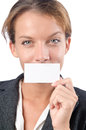 Woman with blank message Royalty Free Stock Photography