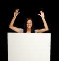 Woman with blank notice board beautiful young brunette Stock Photo