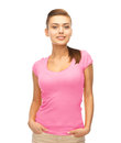 Woman in blank pink t shirt design and breast cancer awareness concept smiling Stock Photography