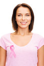 Woman in blank t shirt with pink cancer ribbon healthcare medicine and breast concept Stock Image