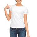Woman in blank white t shirt design concept Stock Images